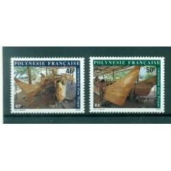 Polynésie Française 1986 - Y & T n. 266/267 - Construction d'une Pirogue