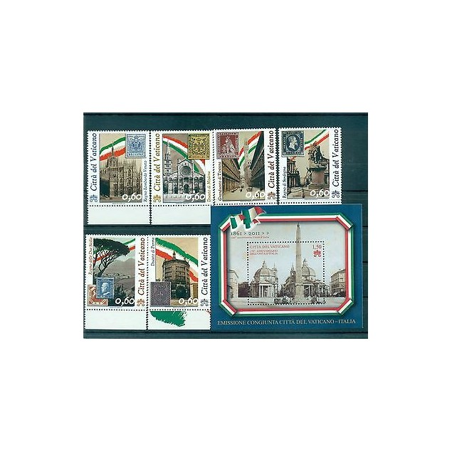 MONUMENTI & STAMP ON STAMP VATICAN 2011 150° Unità d'Italia set+blocks