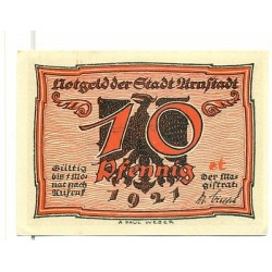 "OLD GERMANY EMERGENCY PAPER MONEY - NOTGELD Arnstadt 1921 10 Pf  ""st"""