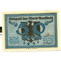 "OLD GERMANY EMERGENCY PAPER MONEY - NOTGELD Arnstadt 1921 50 Pf  ""A"""