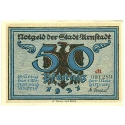 "OLD GERMANY EMERGENCY PAPER MONEY - NOTGELD Arnstadt 1921 50 Pf  ""dt"""