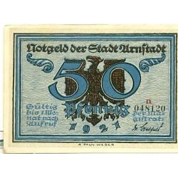 """OLD GERMANY EMERGENCY PAPER MONEY - NOTGELD Arnstadt 1921 50 Pf  """"n"""""""