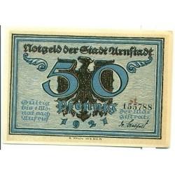 "OLD GERMANY EMERGENCY PAPER MONEY - NOTGELD Arnstadt 1921 50 Pf  ""st"""