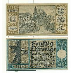 OLD GERMANY EMERGENCY PAPER MONEY - NOTGELD Berlin 1921 50 Pf Townships 12