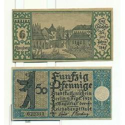 OLD GERMANY EMERGENCY PAPER MONEY - NOTGELD Berlin 1921 50 Pf Townships 6