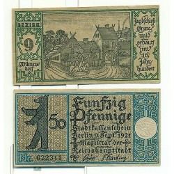 OLD GERMANY EMERGENCY PAPER MONEY - NOTGELD Berlin 1921 50 Pf Townships 9