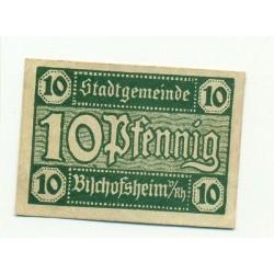 OLD GERMANY EMERGENCY PAPER MONEY - NOTGELD Bishofsheim 1921 10 Pf
