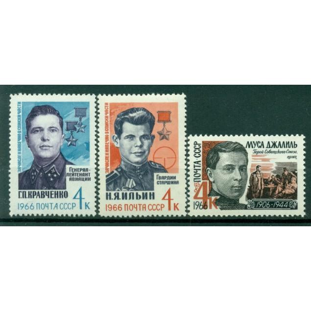 USSR 1966 - Y & T n. 3068/70 - Soviet heroes