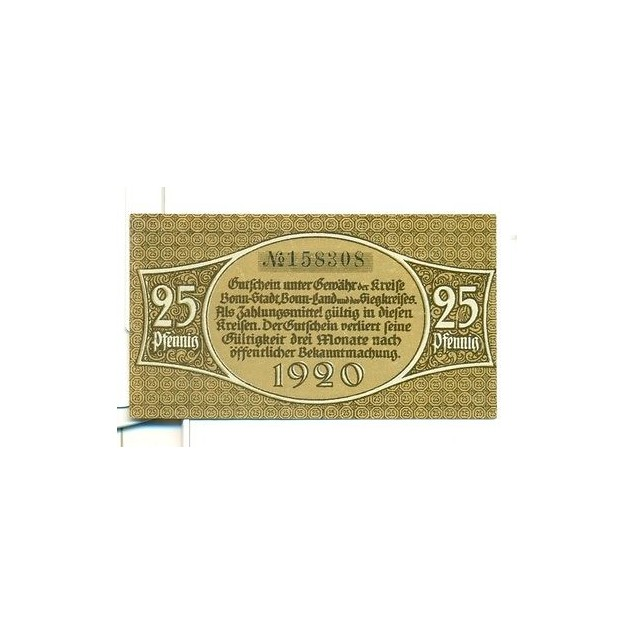 OLD GERMANY EMERGENCY PAPER MONEY - NOTGELD Bonn 1920 25 Pf