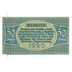 OLD GERMANY EMERGENCY PAPER MONEY - NOTGELD Bonn 1920 50 Pf