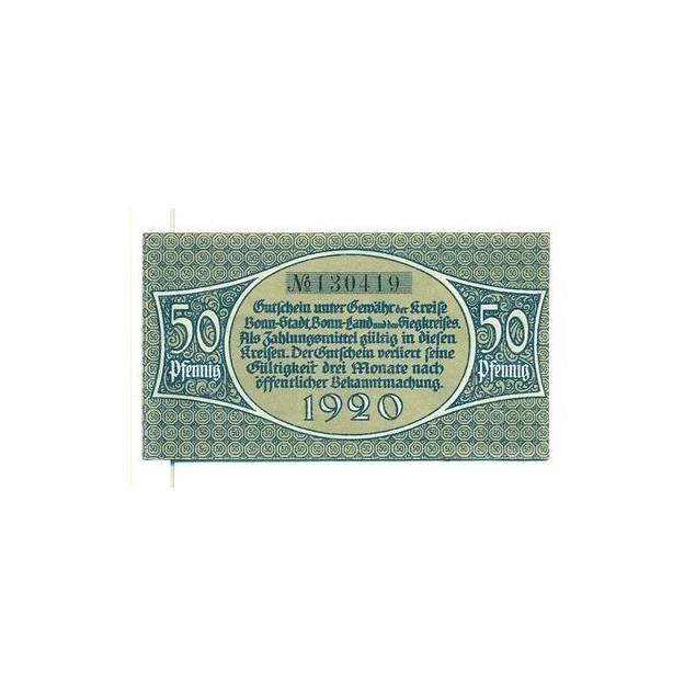 OLD GERMANY EMERGENCY PAPER MONEY - NOTGELD Bonn 1920 50 Pf