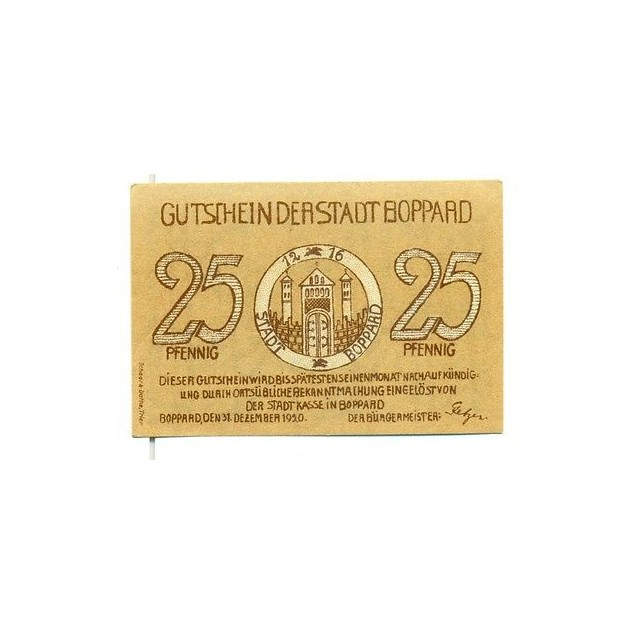 OLD GERMANY EMERGENCY PAPER MONEY - NOTGELD Boppard 1920 25 Pf