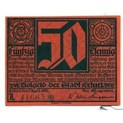 OLD GERMANY EMERGENCY PAPER MONEY - NOTGELD Erfurt 1921 Lutherjubilaum 50Pf L