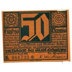OLD GERMANY EMERGENCY PAPER MONEY - NOTGELD Erfurt 1921 Lutherjubilaum 50Pf R