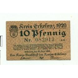 OLD GERMANY EMERGENCY PAPER MONEY - NOTGELD Erkelenz 1920 10 Pf