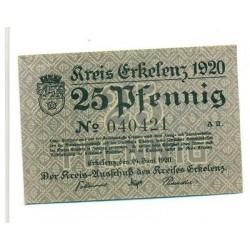 OLD GERMANY EMERGENCY PAPER MONEY - NOTGELD Erkelenz 1920 25 Pf