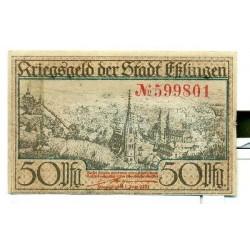 OLD GERMANY EMERGENCY PAPER MONEY - NOTGELD Esslingen 1917 50 Pf