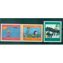 Nouvelle Zélande 1987 - Mi. n. 1000/1002 - Dessins d'enfants, Santé
