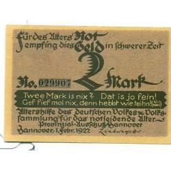 OLD GERMANY EMERGENCY PAPER MONEY - NOTGELD Hannover 1922 2 Mk