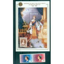 Nouvelle Zélande 1988 -  Mi. n. 1014/1015 + Bl 14 - Societé philatélique royale