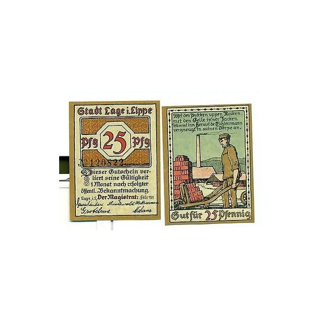 OLD GERMANY EMERGENCY PAPER MONEY - NOTGELD Lage 1921 25 Pf
