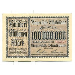 OLD GERMANY EMERGENCY PAPER MONEY - NOTGELD Munchen 1923 100.000.000 Mk