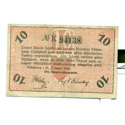 OLD GERMANY EMERGENCY PAPER MONEY - NOTGELD Oldenburg 1918 10 Pf