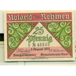 OLD GERMANY EMERGENCY PAPER MONEY - NOTGELD Rehmen 1921 25 Pf