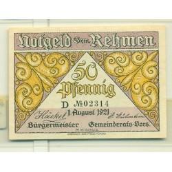 OLD GERMANY EMERGENCY PAPER MONEY - NOTGELD Rehmen 1921 50 Pf