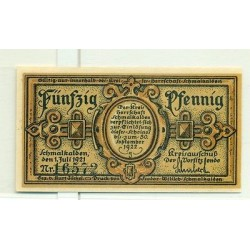 OLD GERMANY EMERGENCY PAPER MONEY - NOTGELD Schmalkalden 1921 50 Pf 1 Stadtkirke