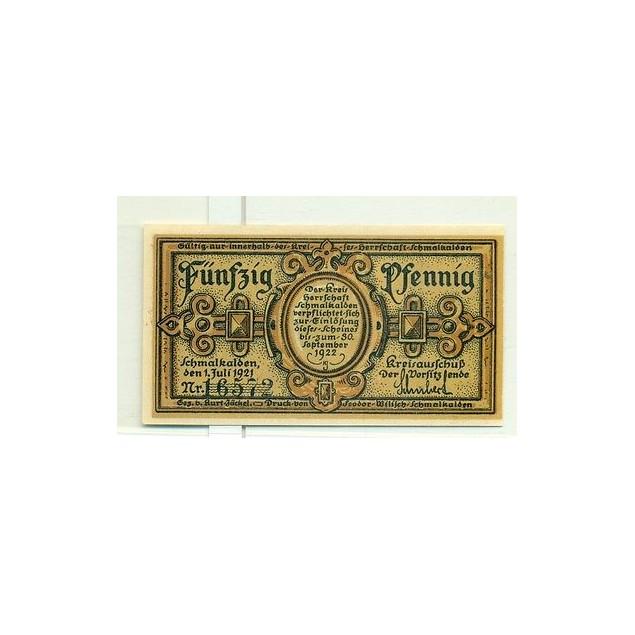 OLD GERMANY EMERGENCY PAPER MONEY - NOTGELD Schmalkalden 1921 50 Pf 1 Stadtkirke