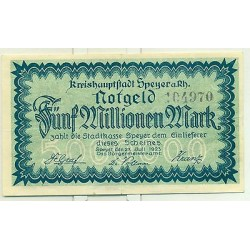 OLD GERMANY EMERGENCY PAPER MONEY - NOTGELD Speyer 1923 5.000.000 Mk