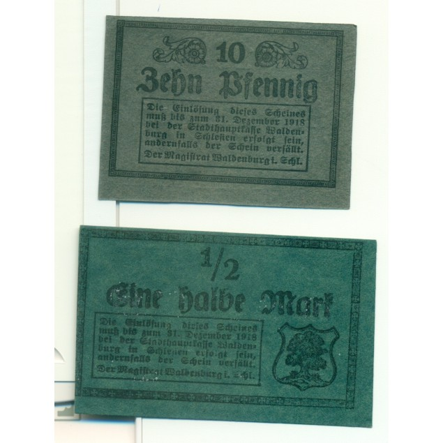 OLD GERMANY EMERGENCY PAPER MONEY - NOTGELD Waldenburg 1918