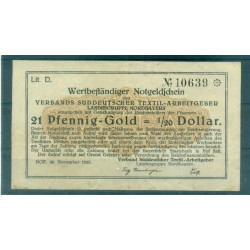OLD GERMANY EMERGENCY PAPER MONEY - NOTGELD 21 Pfennig-Gold 1/20 Dollar
