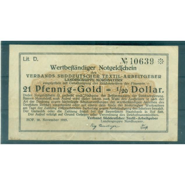 OLD GERMANY EMERGENCY PAPER MONEY - NOTGELD 21 Pfennig-Gold 1/20 Dollar