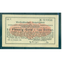 OLD GERMANY EMERGENCY PAPER MONEY - NOTGELD 2.1 Pfennig-Gold 1/200 Dollar