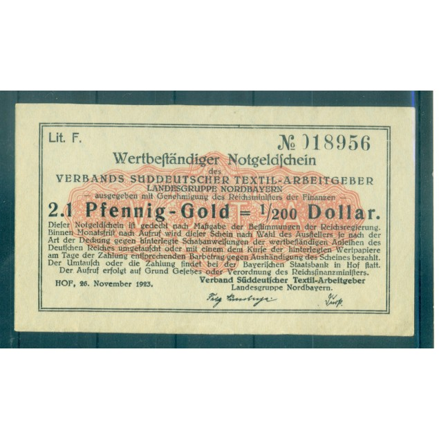 OLD GERMANY EMERGENCY PAPER MONEY - NOTGELD 2.1 Pfennig-Gold 1/200 Dollar