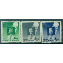 USSR 1944 - Y & T n. 67/69 air mail - Ascension of the Sirius balloon (ii)