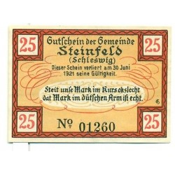 OLD GERMANY EMERGENCY PAPER MONEY - NOTGELD Steinfeld 1921 25 Pf 1 Muhle