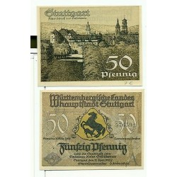 OLD GERMANY EMERGENCY PAPER MONEY - NOTGELD Stuttgart 1921 50 Pf A
