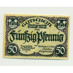 OLD GERMANY EMERGENCY PAPER MONEY - NOTGELD Triebes 1920 50 Pf