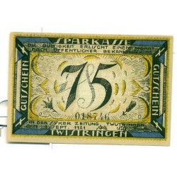 OLD GERMANY EMERGENCY PAPER MONEY - NOTGELD Twistringen 1921 75 Pf