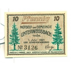 OLD GERMANY EMERGENCY PAPER MONEY - NOTGELD Unterweissbach 1921 10 Pf