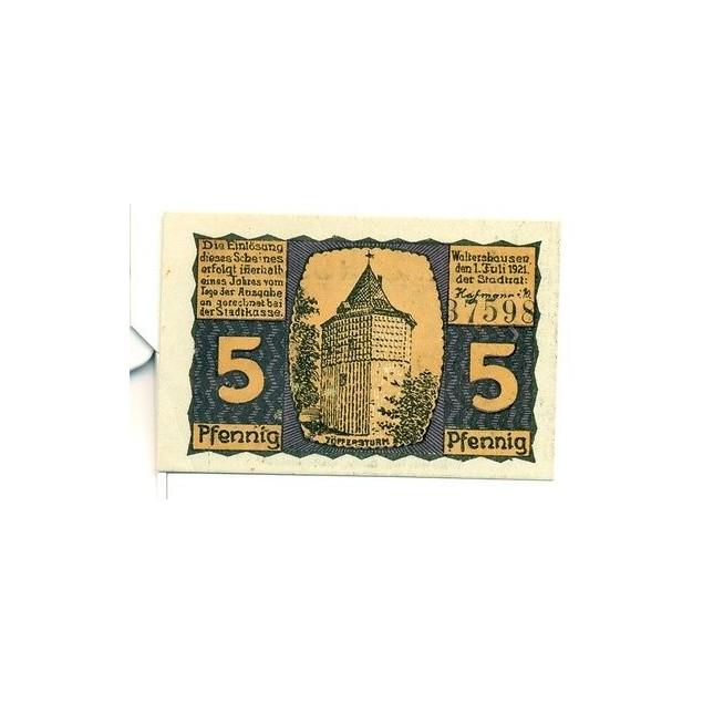 OLD GERMANY EMERGENCY PAPER MONEY - NOTGELD Waltershausen 1921 5 Pf