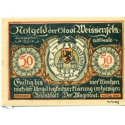 OLD GERMANY EMERGENCY PAPER MONEY - NOTGELD Weissenfels 1921 50 Pf 3