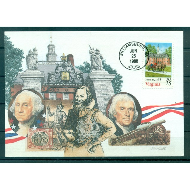 """USA 1988 - Y & T n. 1817 - Maximum card """"Virginia ratifies"""" (Michel n. 1987)"""