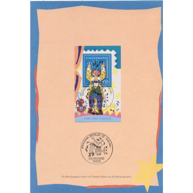 """Germany 1993 - Michel sheet n. 27 - Folder """"For us children"""""""