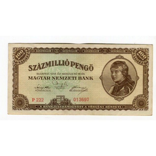 HONGRIE - National Bank Inflationary Era 1946 - 100.000.000 Pengo