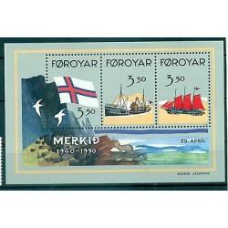 BATEAUX & DRAPEAU - VESSELS & FLAG FAROE ISLANDS 1990 block