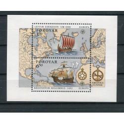 Faroe Islands 1992 - Mi. n. 233/234 Bl. n. 5 - EUROPA CEPT C. Colombus